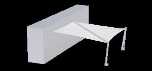 Voile d'ombrage avec 2 ancrages au mur et 2 pieds inox